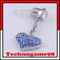 Pendentif anti poussière Coeur bleu