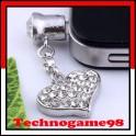Pendentif anti poussière Coeur blanc diamant