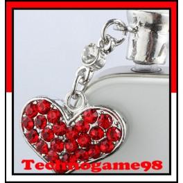 Pendentif anti poussière Coeur rouge